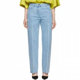 Nina Ricci Blue Distressed Text Jeans 192475F06900101GB