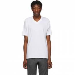 Jil Sander White V-Neck T-Shirt 192249M21300603GB