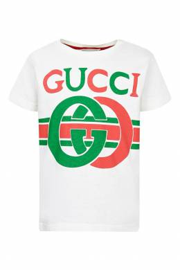 Футболка с логотипом Gucci Kids 1256146097