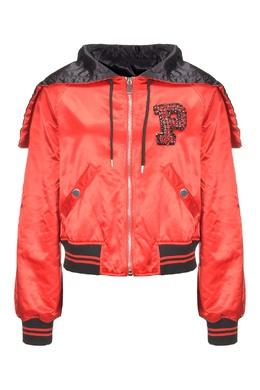 Красная атласная куртка с отделкой Pinko 2198145915