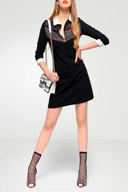 Черное платье с комбинированной отделкой Pinko 2198145916