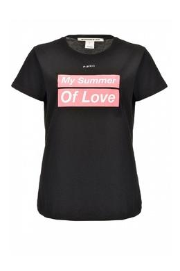 Черная футболка с принтами Pinko 2198145922