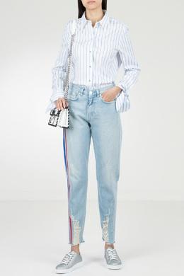 Голубые джинсы с отделкой и потертостями Pinko 2198146037