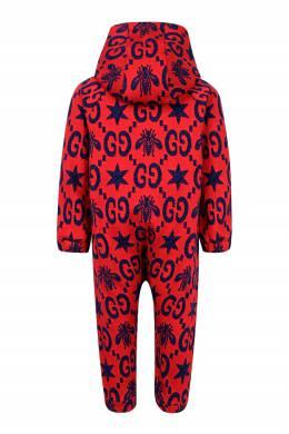 Красный комбинезон с контрастным узором Gucci Kids 1256146121