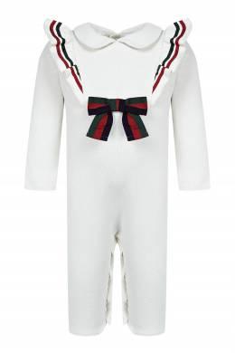 Белый хлопковый комбинезон с цветной отделкой Gucci Kids 1256146122