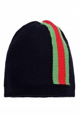 Шерстяная шапка с цветной отделкой Gucci Kids 1256146123