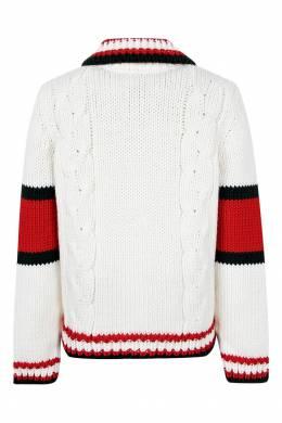 Белый кардиган с цветной отделкой Gucci Kids 1256146124