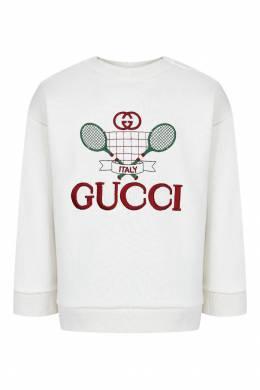 Белый джемпер с вышивкой Gucci Kids 1256146067