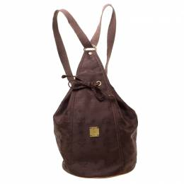 MCM Brown Nylon Sling Backpack 213646