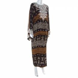 Oscar De La Renta Brown Tribal Print Silk Embroidered Kaftan Dress M 217486