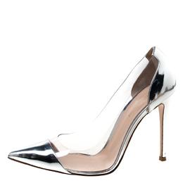 Gianvitto Rossi Silver Patent Leather and PVC Plexi Pointed Toe Pumps Size 39.5 Gianvito Rossi 217518