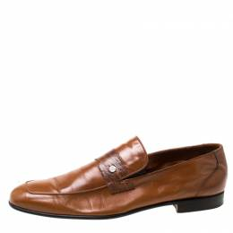 Moreschi Brown Leather and Ostrich Skin Trim Slip On Loafers Size 43 217529