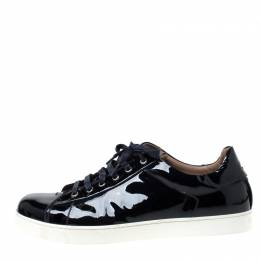 Gianvito Rossi Oxford Blue Patent Leather Sneakers Size 45 217774