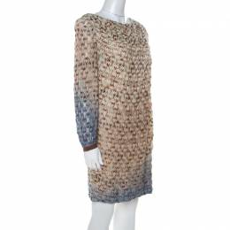 Missoni Beige Flame Patterned Knit Ombre Shift Dress L 216886