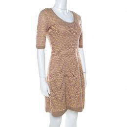 M Missoni Multicolor Geometric Motif Knit Fit and Flare Dress S