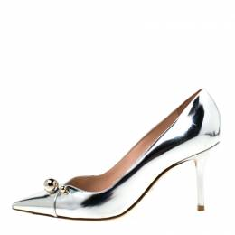 Dior Metallic Silver Leather Charm Pointed Toe Pumps Size 36.5