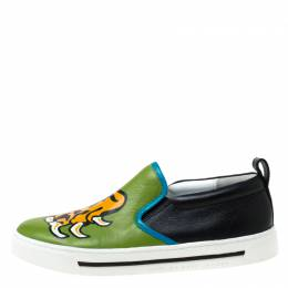 Marc By Marc Jacobs Green Leather Tiger Claw Print Slip on Sneakers Size 38