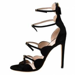 Giambattista Valli Black Suede Open Toe Strappy Cage Sandals Size 40 217903