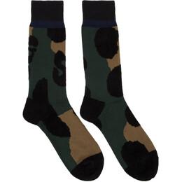 Sacai Green and Black Leopard Socks 192445M22000201GB
