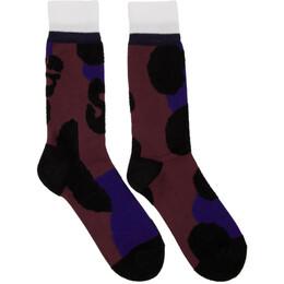 Sacai Burgundy Leopard Socks 192445M22000301GB