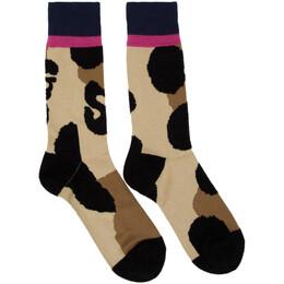 Sacai Beige and Black Leopard Socks 192445M22000401GB