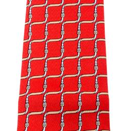Hermes Red Equestrian Belt Print Silk Twill Tie 216028