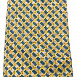 Hermes Yellow and Blue Ring print Silk Tie