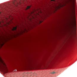 MCM Red Visetos Leather Envelope Clutch 218114
