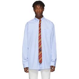 Vetements Blue and White Stripe Tie Shirt 192669M19201205GB