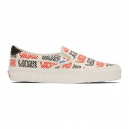 Vans White and Red Logo Checkerboard OG Slip-On 59 LX Sneakers 192739M23706310GB
