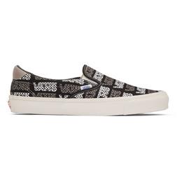Vans Black and Grey Logo Checkerboard OG Slip-On 59 LX Sneakers 192739M23706407GB