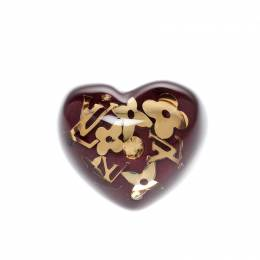 Louis Vuitton Inclusion Burgundy Resin Heart Ring Size 57 219268