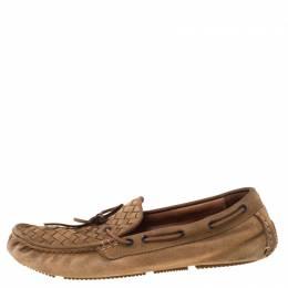Bottega Veneta Brown Intrecciato Suede Bow Slip On Loafers Size 44