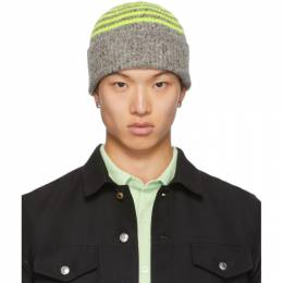Paul Smith Grey and Yellow Wool Beanie 192260M13800301GB