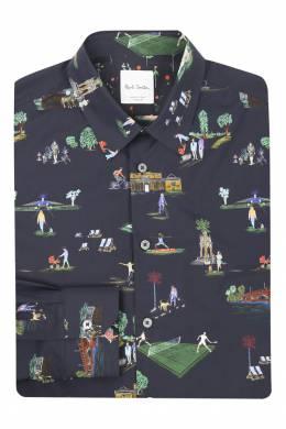 Рубашка из хлопка с узором Paul Smith 1924144607
