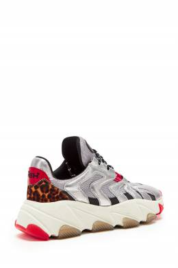 Серебристые кожаные кроссовки Extreme Ash 6147193