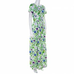 Oscar De La Renta Multicolor Floral Print Cotton Gathered Maxi Dress S 218941