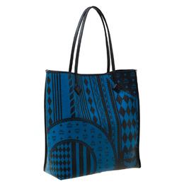 MCM Blue/Black Visetos Baroque Print Kira North South Tote 216573