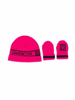 Givenchy Kids - 4G logo beanie and mittens set 60056C95338938000000