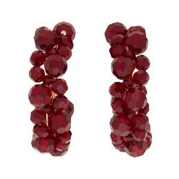 Simone Rocha Burgundy Small Wiggle Hoop Earrings 192405F02201101GB