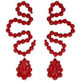 Simone Rocha Red Wiggle Earrings 192405F02200801GB