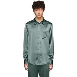 Sies Marjan Green Crinkled Satin Sander Shirt 192885M19201302GB