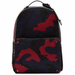 Valentino Navy and Red Valentino Garavani Camo Backpack 192476M16600101GB