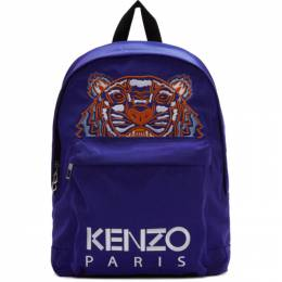 Kenzo Blue Canvas Tiger Backpack 192387M16601101GB