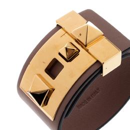 Valentino Poudre Leather B Rockstud Wide Bracelet 220339