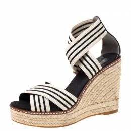 Tory Burch Monochrome Stretch Fabric And Leather Frieda Cross Strap Espadrille Platform Sandals Size 36 218632