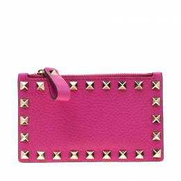 Valentino Pink Orchid Leather Rockstud Zip Wallet 220268
