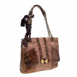 Lanvin Brown Python Happy Shoulder Bag 218327