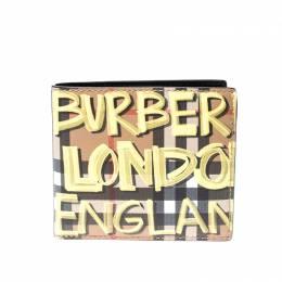 Burberry Multicolor Graffiti Print Check Leather Bifold Wallet 218045
