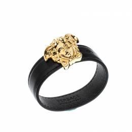 Versace Medusa Black Leather Gold Tone Bracelet 219245